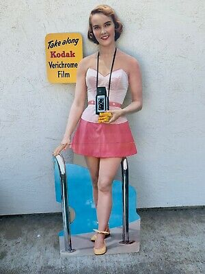 "VINTAGE 1950's  ""KODAK"" 63 Inches STANDUP ADVERTISING CARDBOARD SIGN"