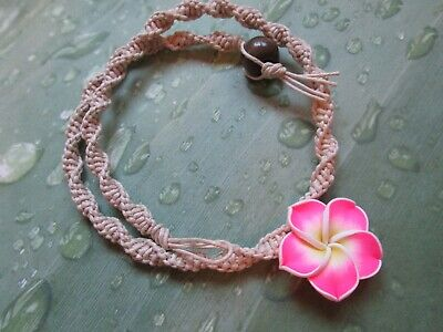 18 INCH Handmade Natural Hemp Necklace with Awesome Pink Clay Flower Pendant