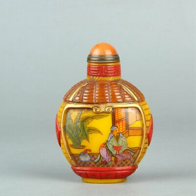 Chinese Exquisite Handmade people Glass snuff bottle