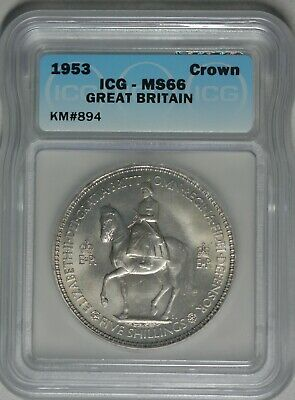 1953 Great Britain Crown Gem Uncirculated ICG Mint State MS66 KM 894
