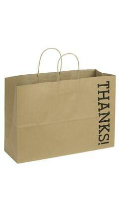 "Large Kraft Thanks! Paper Shopping Bags - 16""L x 6""D x 12""H - Case of 100"