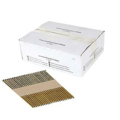 Galvanised Ring Nails 3.1 x 90mm Air Framing Nailer Gun Collated Outdoor 50PC