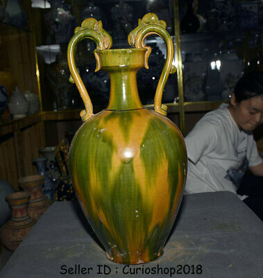 """20.4"""" Old Chinese Tang Sancai Pottery Dynasty Double Dragon Ears Bottle Vase Jar"""