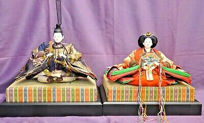 Beautiful set! Japanese Hina Dolls The Emperor and The Empress circa 1970s (FKA)