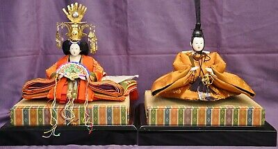 Vintage Japanese Hina Dolls Old Style of Emperor and Empress circa 1970s (FKA)