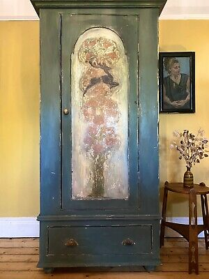 Vintage Painted Pine Wardrobe With Inlaid Arts And Crafts Inlaid Panel