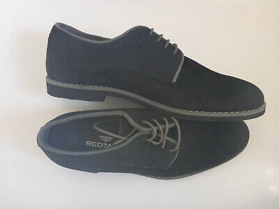 Mens Boys Next Red Tape Black Genuine Suede Leather Lace Up Derby Shoes UK 5