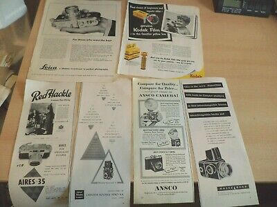 orig OLD vintage ADVERTISING ADVERTS PRINTS 1950s american cameras photography