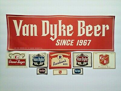 VAN DYKE BEER poster GRAND LAGER RUSKIN'S labels ST Charles MO brewing companies