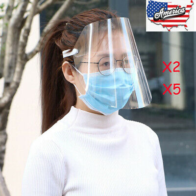 2 PCS 5 PCS Safety Full Face Shield Reusable Washable Protection Cover Face Mask