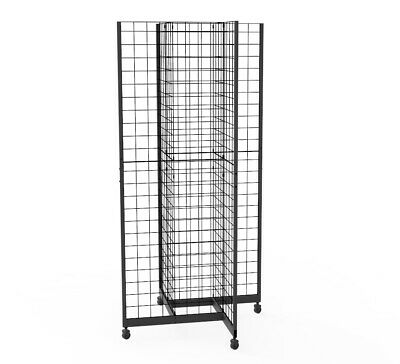 Metal Gridwall Fixture Wheels 4-Sided Black 4-Way Wire Floor Stand Apparel