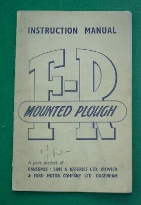 Ford Ransomes Fr Mounted Plough Instruction Manual 1949 (Tractor Farm)