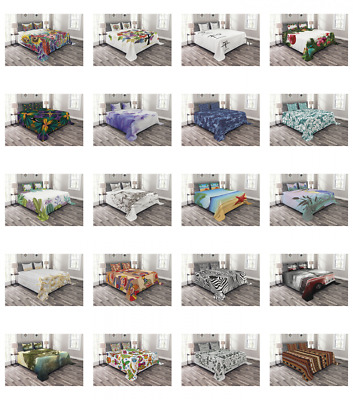 Ambesonne Printed Quilted Bed Cover Set Decorative Coverlet Bedspread