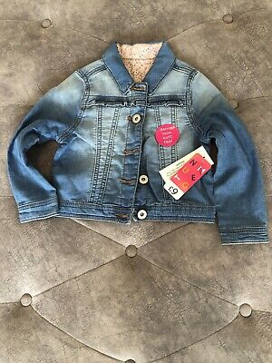 Girls Denim Look Soft Feel Jacket Aged 2-3 NWT
