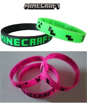 Minecraft Wristbands Bracelets Armbands Party Favour Gaming 20cm Kids Adults NEW