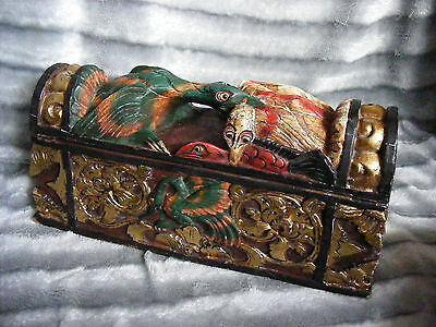 Antique Vintage Oriental Chinese Asian Wooden Box Hand Carved Painted Box Birds