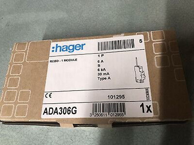 Hager RCBO 6 Amp 30mA Type B 6A Range ADA 306 BRAND NEW