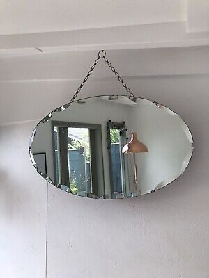 Vintage Mirror art deco beveled edged frameless Oval mirror with Hanging chain