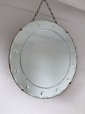 Vintage Bevelled Edge Frameless Round Etched Mirror Lovely Aged Art Deco