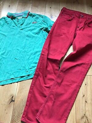 boys bundle Ben Sherman polo shirt H&M red jeans age 12-13