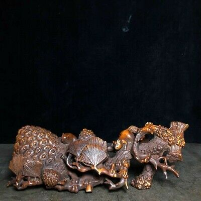 Collect China Old Boxwood Hand-Carved Pine Tree & Lovely Squirrel Decor Statue