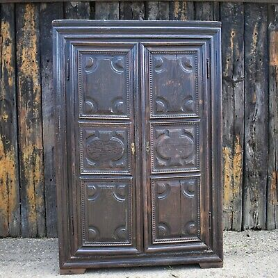 18th Century Rare Continental Armoire Heavy Panelled Oak Cupboard Cabinet