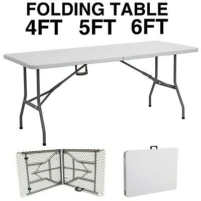 Heavy Duty Folding Table Portable Plastic Camping Garden Party Trestle 4Ft 5Ft 6