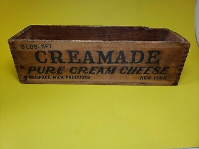 Reliance Milk Products NY Creamade Cream Cheese Box 3lb. Wooden Dovetailed Box