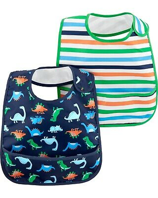 Carter's Baby Boys 2-Pack Feeding Bibs Dinosaur New