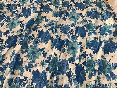 Vintage 1960s Fashion Manor Quilted Blue Daisy Floral Bedspread PomPom 102x80