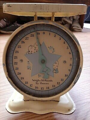 Vintage Metal Baby Scale - Great Graphics!