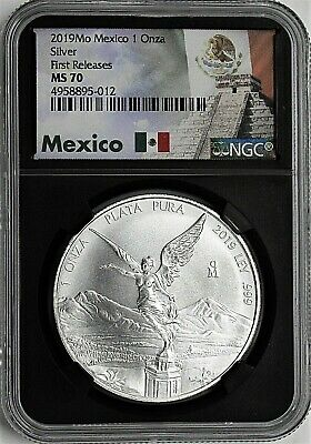 2019 Mexico 1oz Silver Libertad NGC MS70 First Releases Pyramid Label Black Core