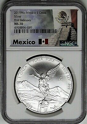 2019 Mexico 1oz Silver Libertad NGC MS70 First Releases Pyramid Label White Core