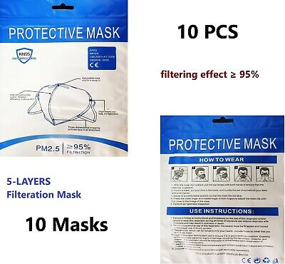 10 Pcs  KN95 Disposable Protective Face Masks 5-LAYERS  filtering effect ≥ 95%