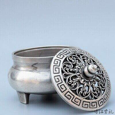 Collect China Old Miao Silver Hand-Carved Bloomy Flower Delicate Unique Censer