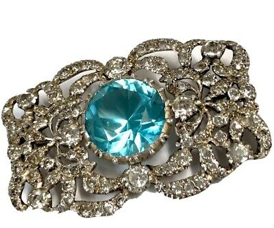 Antique Large Silver Aquamarine & Paste Brooch French ? GIFT BOXED