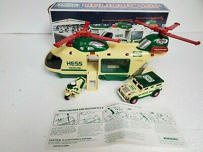 2001 HESS TOY HELICOPTER With MOTORCYCLE And CRUISER IN ORIGINAL BOX