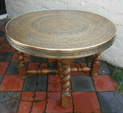 Vintage Anglo Indian Brass Coffee Table With Oak Barley Twist Base