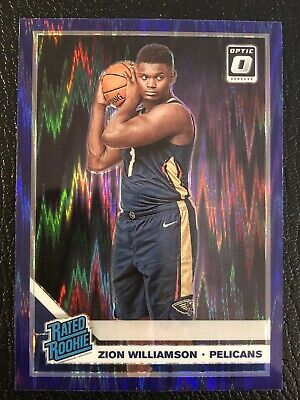 2019-20 Donruss Optic Zion Williamson Rated Rookie Purple Shock Prizm SP #158
