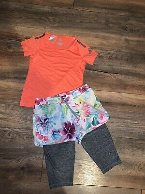 Next And Adidas Sports Wear Top & Crop Leggins With Shorts 7-8 Years