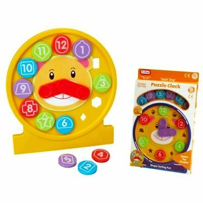 Fun Time Puzzle Clock Educational Toddler Shape Sorter Toy 18m+