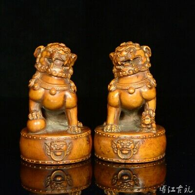 Collect China Old Boxwood Hand-Carved Myth Lion Moral Auspicious A Pair Statue