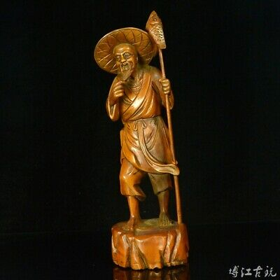 Collectable China Old Boxwood Hand-Carved Fisherman Delicate Vivid Decor Statue