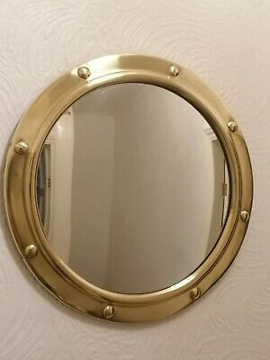"Lovely Vintage 50s /60s large 15"" BRASS CONVEX PORTHOLE MIRROR"