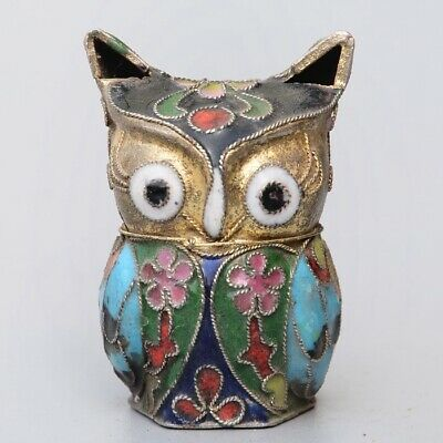 Collectable China Old Cloisonne Hand-Carved Lovely Owl Delicate Unique Statue