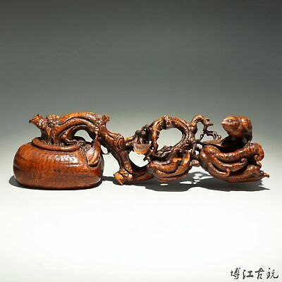 Collectable China Old Boxwood Hand-Carved Teer Branch & Bird Decor Unique Statue