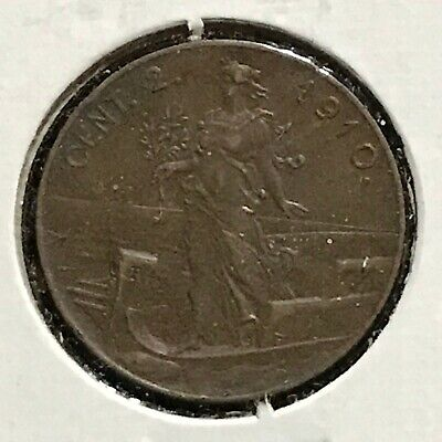 Italy 2 Centimes KM 41 XF 1910 Rare Date
