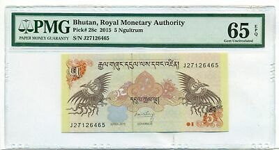 Bhutan 2015 5 Ngultrum Bank Note Gem Unc 65 EPQ PMG