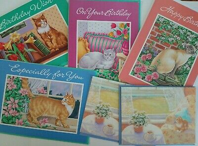 CURRENT Cards CATS ~ 4 Birthday + 2 Small NOTE Cards SUMMER Reflections UNUSED
