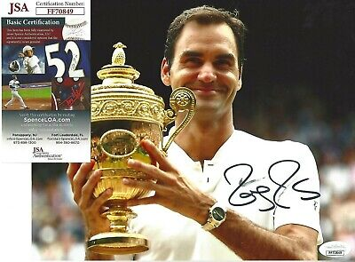 Roger Federer Signed/Auto 8X10 Photo Jsa Certfiend Tennis Major 20X Wimbledon